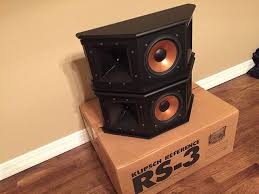 home theater surround speakers klipsch reference rs 3 surround speakers sold garage