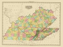 Old United States Map by Old State Map Kentucky Tennessee Counties 1825