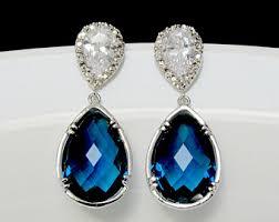blue drop earrings bridal drop earrings pear drop earrings cz earrings