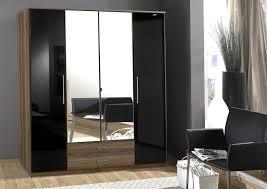 White Gloss Bedroom Wardrobes Dresden 4 Door Wardrobe Black Gloss And Walnut Effect By