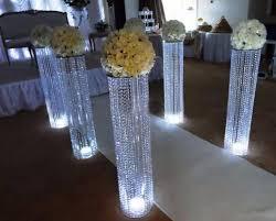 Chandelier Centerpieces Wedding Aisle Crystal Pillars Wedding Walkway Stand Centerpiece