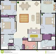 three bedroom floor plan stock photo image 18433120