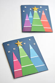 make a christmas card paint chip christmas cards paint swatch christmas trees
