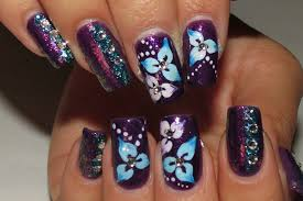 quick blue and pink flowers purple nails youtube