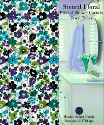 stencil floral shower curtain set jewel tone home decor outlet
