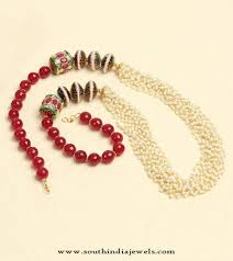 multi layered bead necklace images Multi layer pearl beaded necklace south india jewels jpg