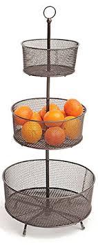 tiered fruit basket espresso mesh helix 3 tier wire fruit basket