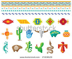 southwestern designs colorful southwestern images icons border designs stock vector