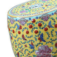 ryir101 famille rose yellow blue red porcelain stool table outdoor