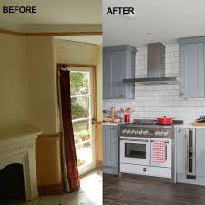 before and after from awkward shaped room to spacious kitchen diner