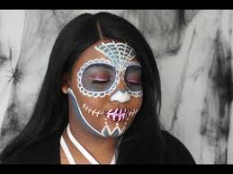 non traditional white sugar skull makeup tutorial halloween with