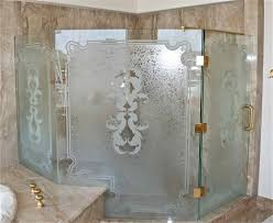 Decorative Glass Bath Partition Etched And Carved In Ocean Wave - Bathroom glass designs