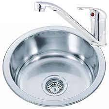 Small Round Bowl Stainless Steel Inset Kitchen Sink  A Mixer Tap - Round sink kitchen