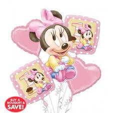 Balloon Bouquets Baby Minnie Mouse 1st Birthday Balloon Bouquet 5pc From Category