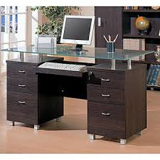 Glass Topped Computer Desk Venetian Worldwide Rayburn Collection Glass Top Computer Desk In