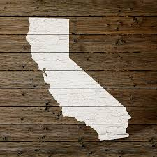 california wood map of california state outline white distressed paint on