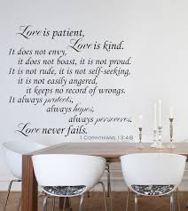 religious wall decals corinthians verse wall decals by sizes 21 color chart love is patient