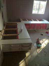 How To Build A Twin Platform Bed With Storage Underneath by This Week I Finished A Custom Corner Bed Frame For My Two