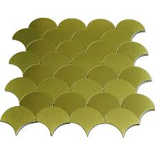 Peel N Stick Backsplash by 10 Sheets Fan Shaped Metal Mosaic Gold Peel N Stick Backsplashes Tiles