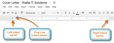 google docs using indents tabs and lists