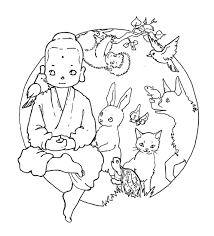 Coloring Book Buddha And The Animals Buddhist Coloring Pages