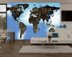 world map with country names contemporary wall decal sticker world map wall mural etsy