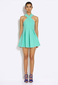 aq aq dress aq aq maverick green cross mini dress with skirt
