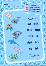 ocean animals vocabulary worksheets for kids sea correct mistakes