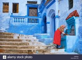 blue city morocco blue painted walls in old medina of chefchaouen blue city