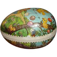 vintage german paper mache easter egg candy container easter