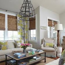 Natural Bamboo Blinds Natural Linen Living Room Roman Shades Design Ideas