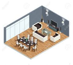 Tv In Dining Room Dining Room Isometric Conept With Tv Table And Chairs Vector