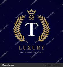 monogram letter t luxury calligraphic letter t crown key monogram sign stock