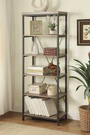 homelegance daria 40in bookcase weathered wood top with metal