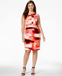 calvin klein plus size abstract print sheath dress in pink lyst