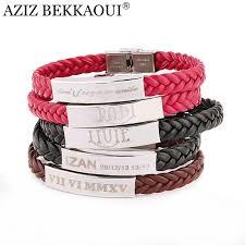 metal rope bracelet images Laser engrave name id bracelet personalized name bracelet for men jpg