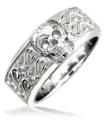mens skull wedding rings skull and crossbones ring sterling silver personaliazed pirate ring