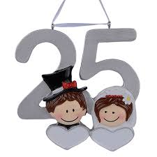 wedding anniversary ornaments personalized resin diy memorial christmas ornaments 25th silver