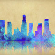 watercolor los angeles skylines on an paper digital by