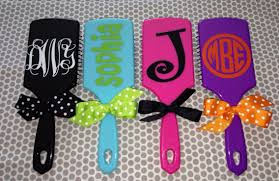 sale personalized paddle hair brush monogram polka dots