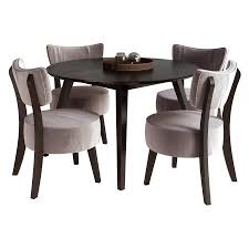 Atwoods Outdoor Furniture - corliving atwood 5 piece dining set soft grey velvet chairs