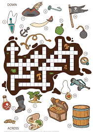 Printable Halloween Crossword Puzzles by Crossword Puzzle About Pirates For Children Free Printable