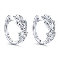diamond huggie earrings 14k white gold diamond huggie hoop earrings