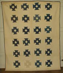 antique 1900 blue white calico patchwork quilt hand stitch hole in