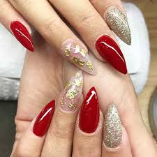 31 snazzy new year u0027s eve nail designs 13 red and gold stiletto