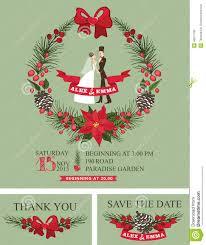 Christmas Wedding Invitations Winter Wedding Invitation Retro Bride Groom Stock Vector Image