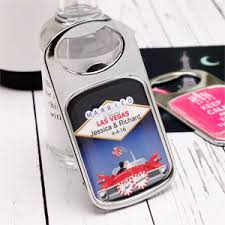 Vegas Wedding Favors by Las Vegas Personalized Bottle Opener With Epoxy Dome Las Vegas
