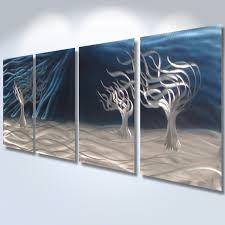 3 trees blue abstract metal wall art contemporary modern decor 3 trees blue abstract metal wall art contemporary modern decor