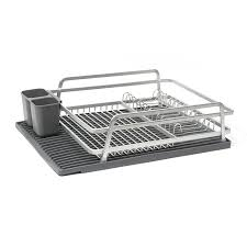 Kitchen Sink Drainer Mat Aluminum Dish Rack With Silicone Self Draining Mat Ta Da