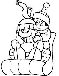 sledding snow winter coloring pages boys coloring pages